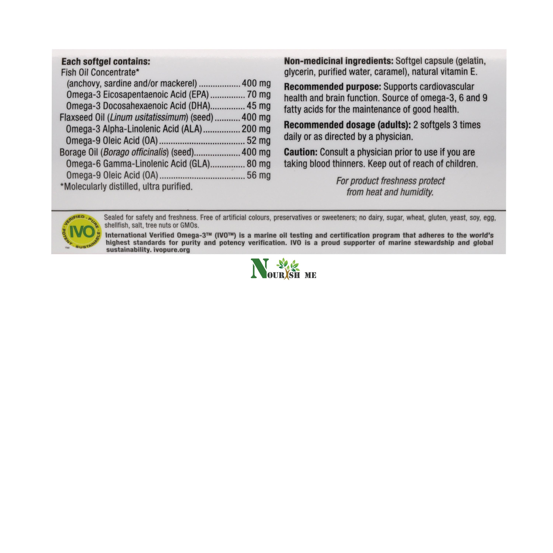 Webber Naturals Omega 3 6 9 High Potency 1200mg Fish Flax